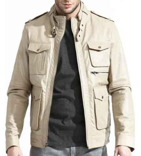 Men's Moto Collar With Buckle Leather Slim European Fit Military Field Bone Big and Tall Bomber Jacket