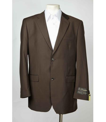 Single Breasted Men's Brown Two Button Blazer