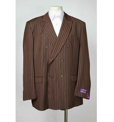Mens Brown Pinstripe 6 Button Double Breasted Sport Coat Blazer