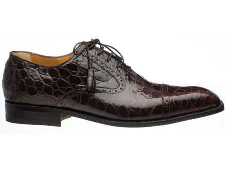 Ferrini Chocolate Men's Cap Toe Lace Up Italian Style World Best Alligator ~ Gator Skin Belly Skin Shoes