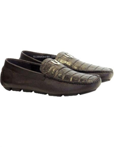 Mens Brown Vestigium Genuine Caiman Belly Loafers Handcrafted