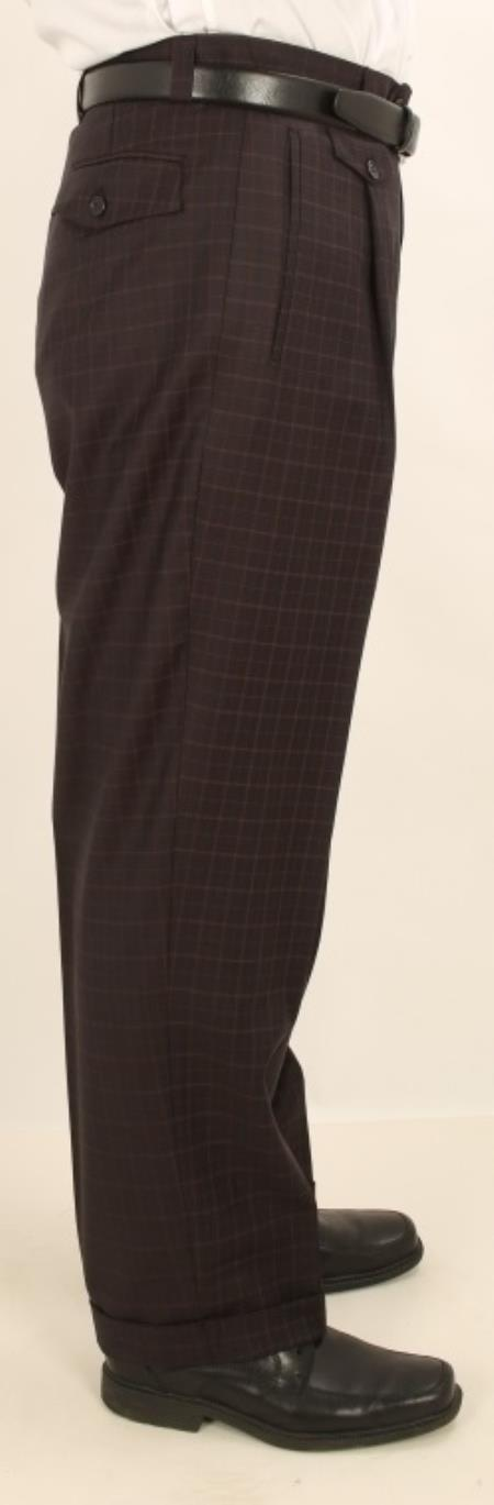 Mens Wide Leg Single Pleated Pants Navy W/Coco Brown Check Mens Wide Leg Trousers - Cheap Priced Dress Slacks For Men On Sale