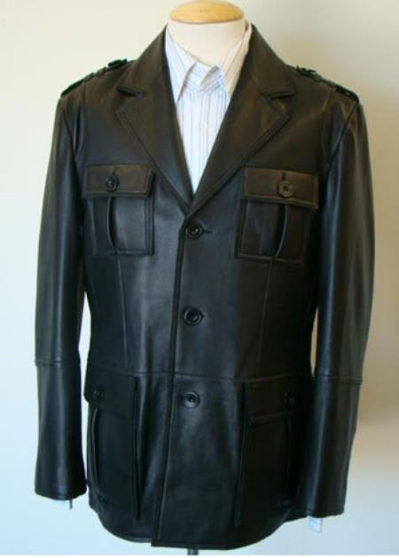 Mens Military-Inspired Leather Button Brown Coat Available in Big and Tall