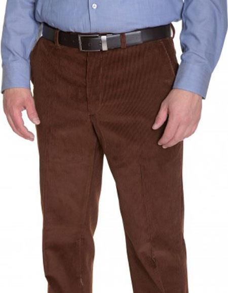 Buy CH633 Ralph Lauren Men's Vicuna Corduroy Brown Cotton Flat Front Formal Dressy Pant
