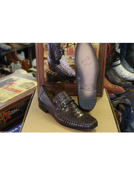 Mens Genuine Crocodile Los Altos Lizard Style Brown Dress Shoes