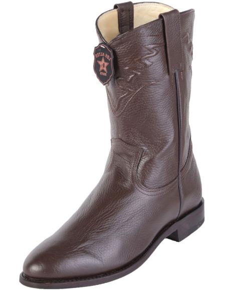 Mens Los Altos Roper Toe Brown Genuine Elk Leather Handcrafted Dress Cowboy Boot Cheap Priced For Sale Online