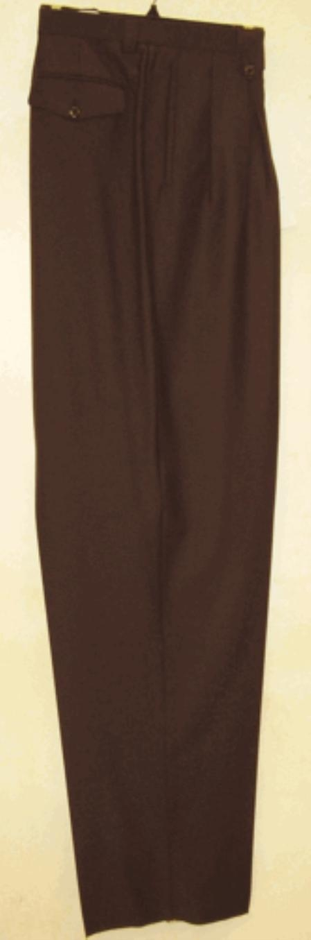 SKU#KS400 long rise big leg slacks Brown Wide Leg Dress Pants Pleated baggy dress trousers
