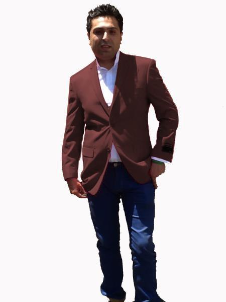 Stage Party Bright Mens Sport Coat / Dinner Jacket Blazer Vented Dark Brown