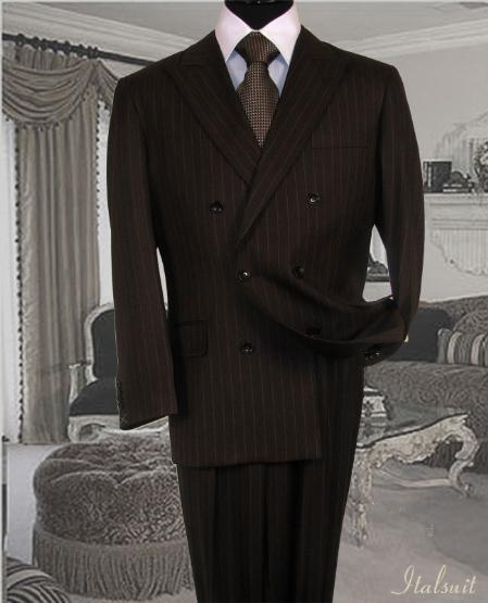 SKU#IU6787 Brown Suit With Smooth Stripe ~ Pinstripe Non Back Vent Close Split In Back With Pleated Pants