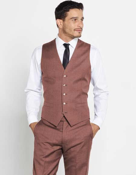 Mens Brown 5 Button Vest + Matching Dress Pants Set + Any Color Shirt & Tie