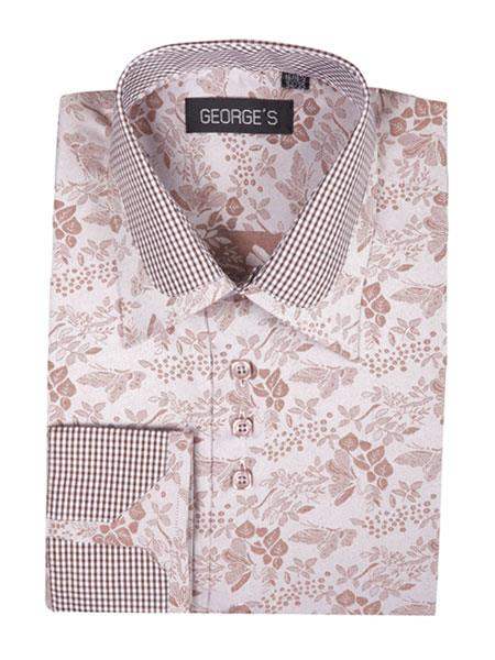 Men's Brown Cotton Blend Classic Fit Floral Pattern Standard Cuff Shirt