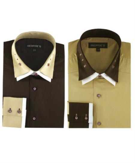 100% Cotton Double Spread Collar dress Solid Color Men's Dress Shirt