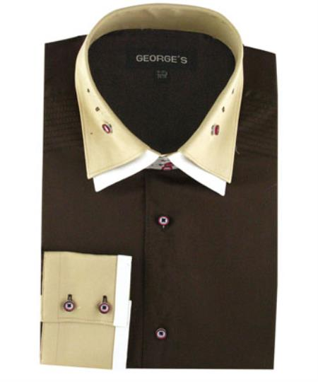 Brown 100% Cotton dress Solid Color Double Spread Collar Mens Dress Shirt