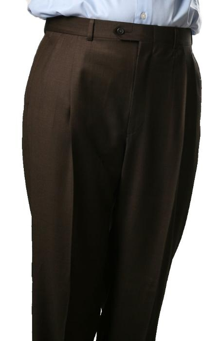 Mens Pleated Dress Pants Brown Somerset Pleated Trouser  unhemmed unfinished bottom