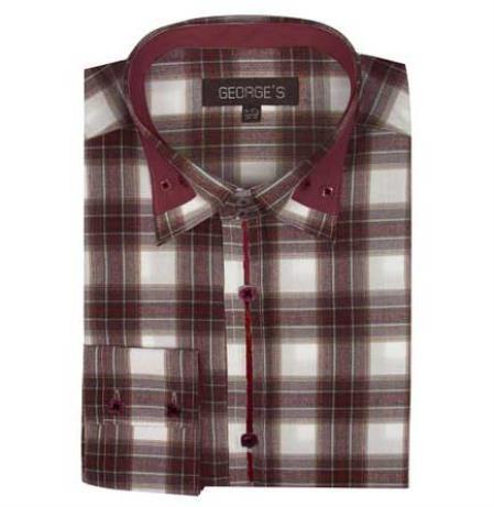 Brown Long Sleeve Plaids And Checks Pattern Men's Dress Shirt