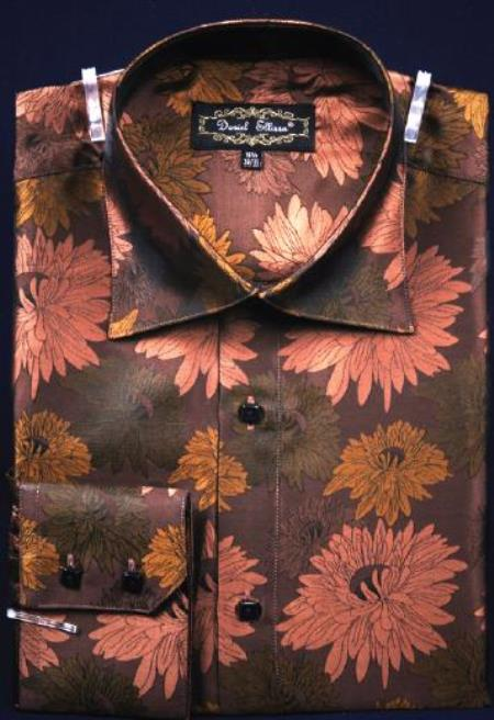 Fancy Polyester Dress Fashion Shirt With Button Cuff Brown