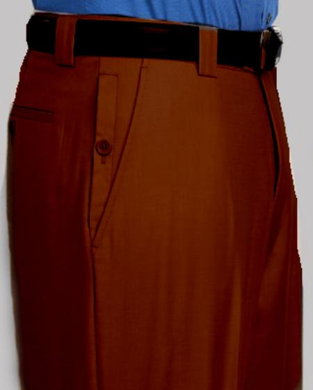 Mens Brown Flat Front Pants