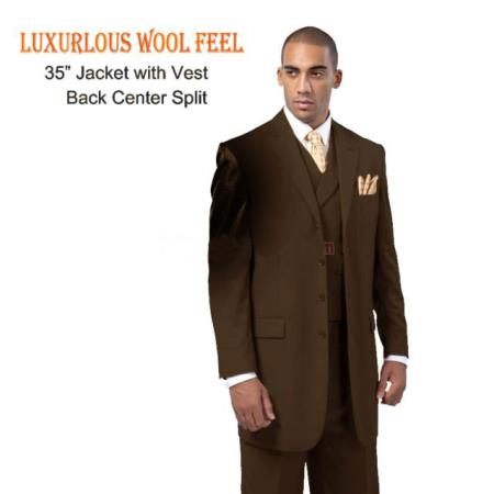 New 4 Button Style three piece low priced fashion Outfits Suits Luxurious Wool Feel Suit with Double Breasted Vest Brown