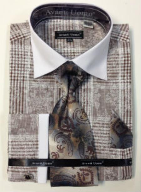 Mens Avanti Uomo Cotton French Cuff Dress