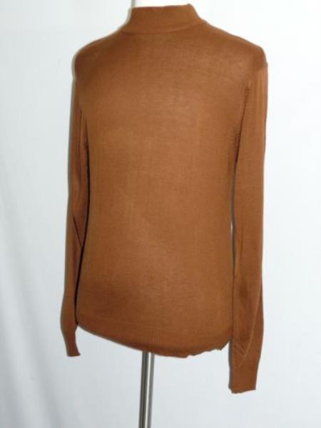 SS-114 Men's Brown INSERCH Mock Neck Pullover Knit Sweater High Collar Winter