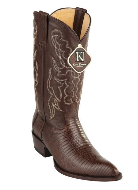 Mens Brown Handmade Genuine Teju Lizard Dress Cowboy Boot Cheap Priced For Sale Online