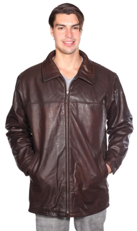 Classic Zip Front Lamb Coat w/ Thinsulate™ Zip-out Liner Brown