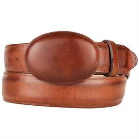 SKU#AA499 Mens Brown Leather Western Style Belt