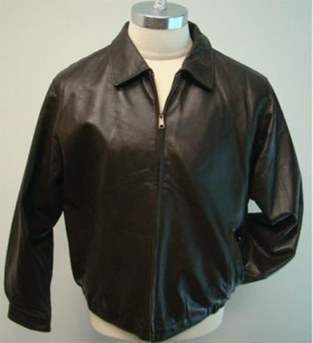 Leather Bomber Jacket And