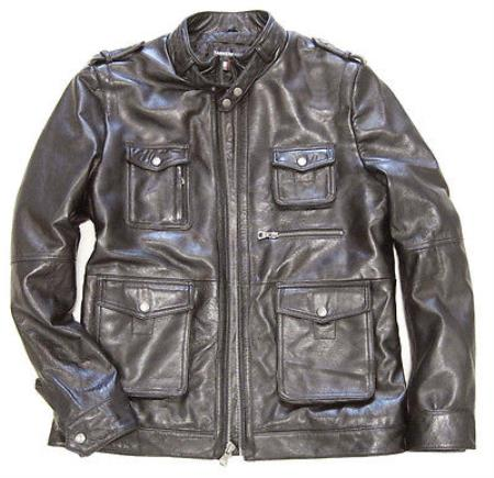 Mens Military Field Inspired Lambskin Brown Leather Jacket - Zip Front tanners avenue jacket