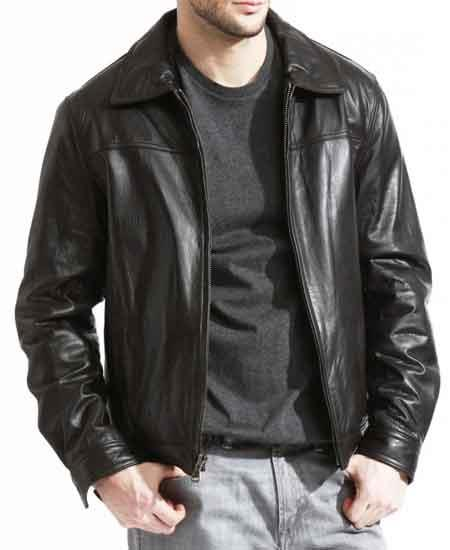 Mens Pebble Grain Lambskin Genuine Leather Brown Front Zipper Closure Jacket Available in Big and Tall