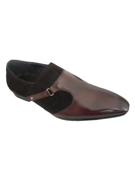SKU#SM3464 Zota Brand Mens Brown High Fashionable Suede and Leather Strap Slip On Style Loafers