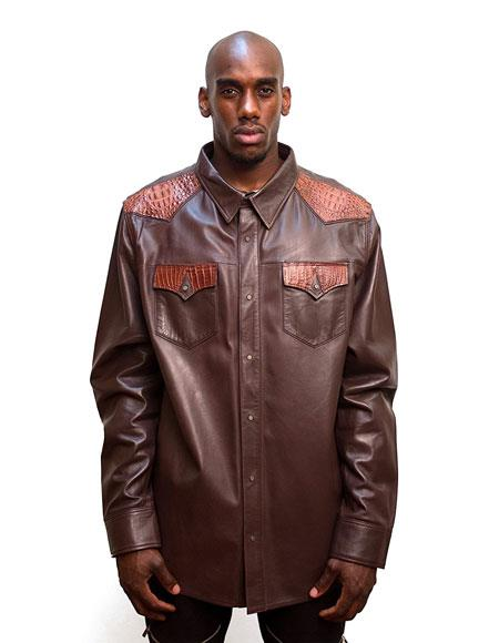 G-Gator Mens Brown Button closure Leather Shirt with Aligator Trimming