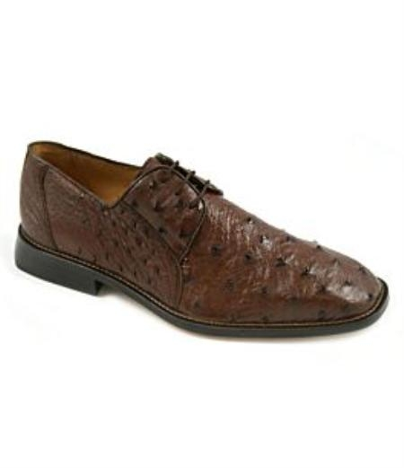 quill ostrich upper fully leather-lined interiorcushioned leather insole leather outsole Mens Ostrich Skin Shoes