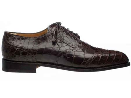 Ferrini Mens Leather Sole And Heel Italian Lace Up Chocolate World Best Alligator ~ Gator Skin Belly Wing Tip Shoes