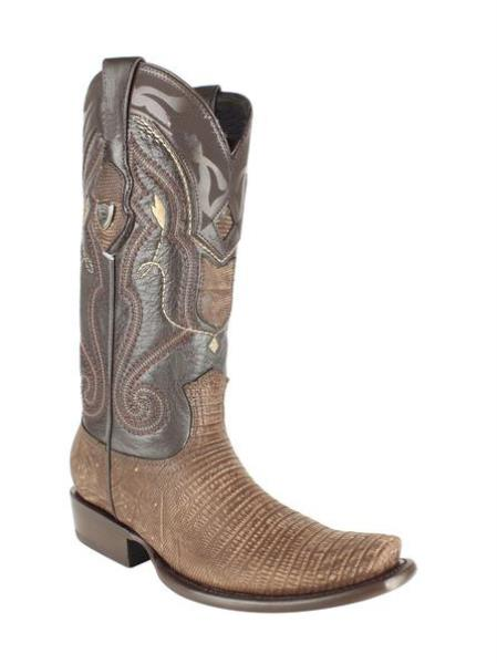 Mens Wild West Genuine Teju Lizard Skin Dubai Toe Leather Dress Cowboy Boot Cheap Priced For Sale Online Sanded Brown Handmade