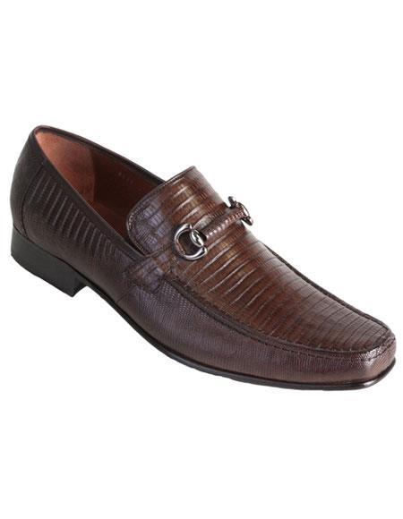 Los Altos Mens Stylish Brown Exotic Teju Lizard Skin Slip-on Casual Dress Shoes