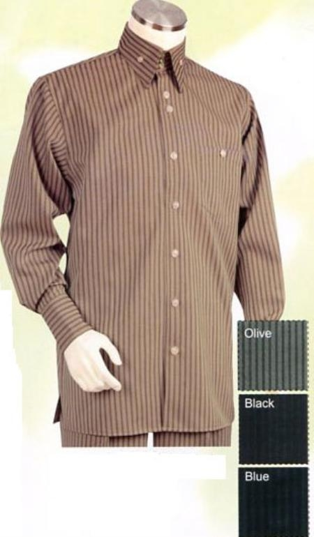 SKU#SK724 Mens Brown Long Sleeve 2pc Set including Matching Wide Leg Dress Pants