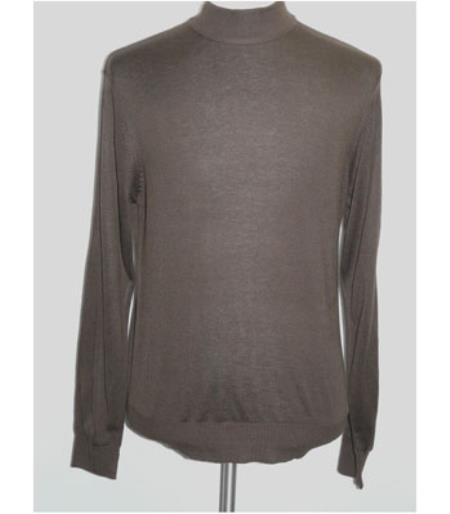 Buy SS-102 MensMen's INSERCH Brown High Mock Neck Pullover Knit Sweater Long Sleeve