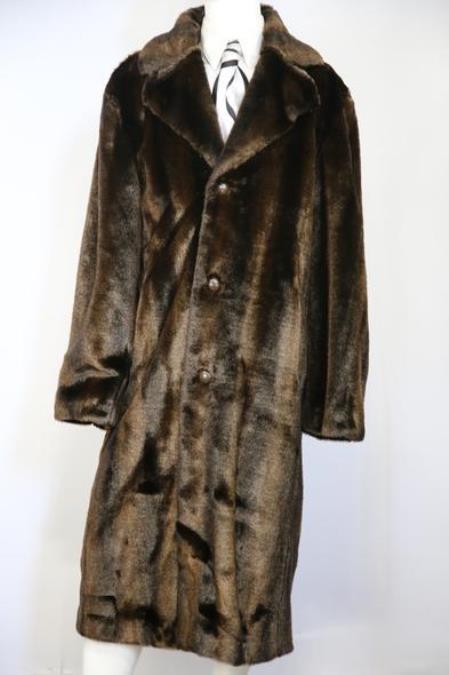Mens Faux Bear Pelt Button Brown Long Zoot Suit