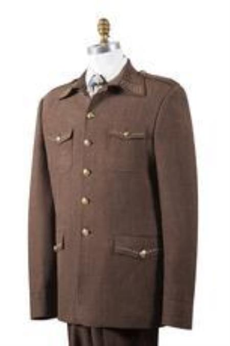 Safari Men's Brown Nailshead Military Pocket Cheap Priced Business Suits Clearance Sale