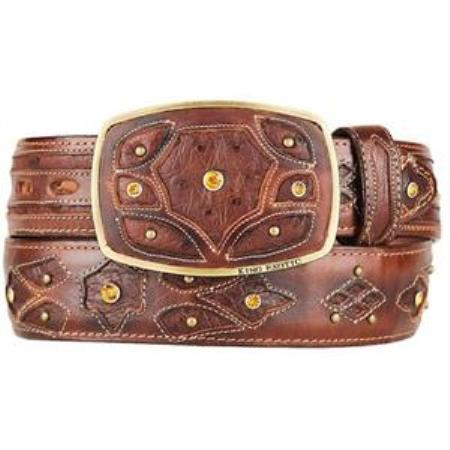 Mens Burnished Brown Original Ostrich Full Quill Skin Fashion Western Belt