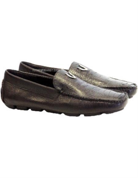 Mens Brown Vestigium Genuine Ostrich Leg Stylish Dress Loafer Handcrafted