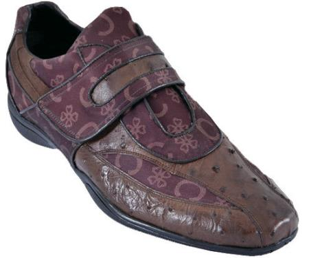 SKU#YD3Q Mens Casual Shoes Los Altos Velcro Ostrich With Design Leather Strap-On Brown
