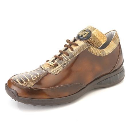 SKU#RC3300 High Top Exotic Skin Sneakers for Men Brown Multi Genuine Ostrich Sneaker