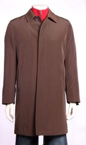 Trench Coat Rain Jacket Trench Coat 3/4 length Brown