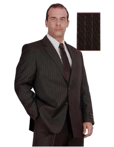 Groomsmen Suits Men's Brown Pinstripe 140 s Wool Business Suits