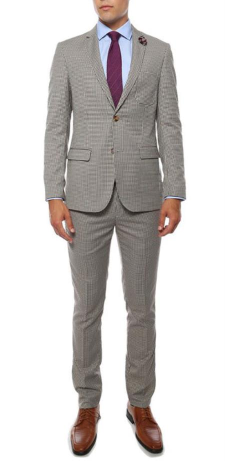 Mens Extra Slim Fitted Skinny Flat Front Pants Tapered Jacket and Pants Monaco Brown Blue checkered check pattern suit with Lapel Pin