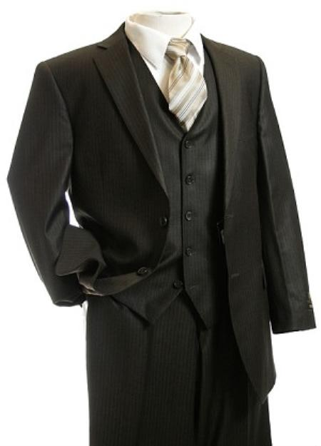 Mens 3pc Suit Brown Pinstripe Suit Brown 2 Piece Suits - Two piece Business suits Suit