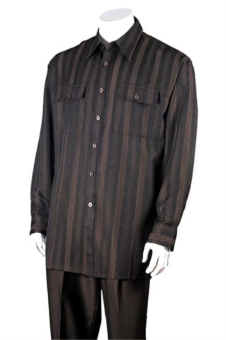 Buy SS-64 Men's Brown 100% Polyester Striped Design Two Piece Walking Suit