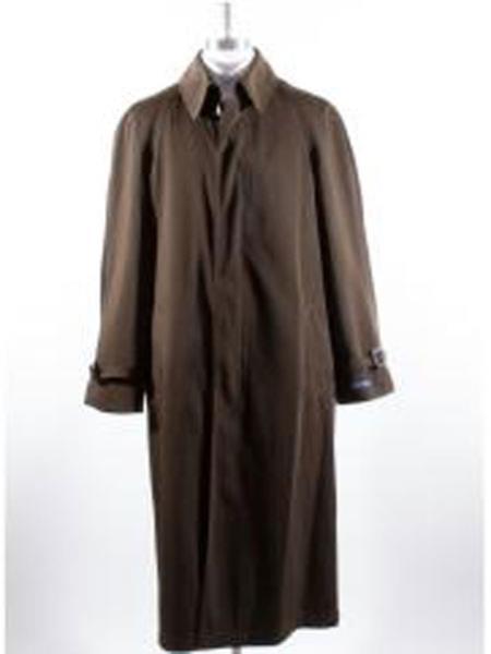 Long Full Length Rain Coat For Men Brown